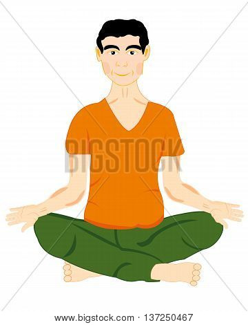 The Young man sits in pose yoga.Vector illustration