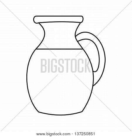 Jug of milk icon in outline style isolated vector illustration. Dishes symbol