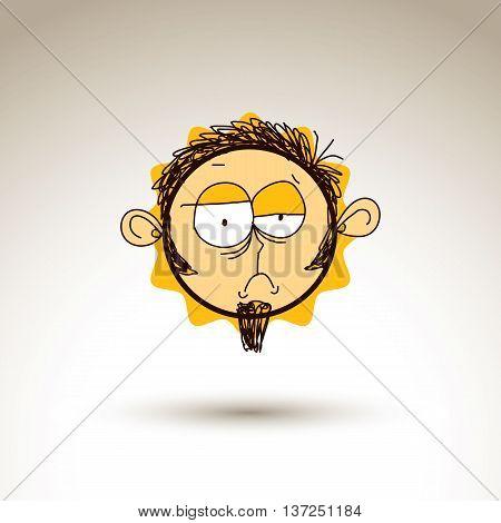 Vector Hand Drawn Cartoon Sad Depressed Boy. Web Avatar Theme Graphic Design Element Isolated On Whi
