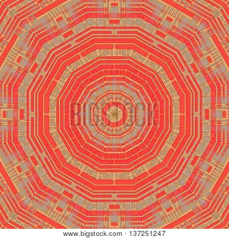Abstract geometric seamless background. Concentric circle pattern in pale red, light brown and light gray.
