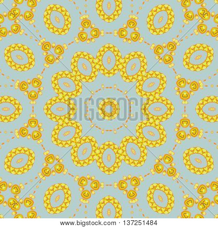 Abstract geometric seamless ellipses background. Dreamy ornament yellow orange on light gray.