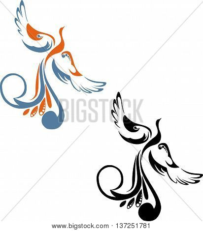 black and color image of the phoenix fire bird on a white background