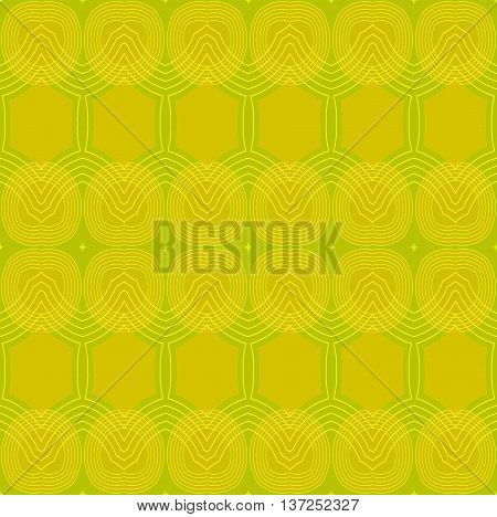 Abstract geometric seamless retro background. Seamless ellipses and hexagon pattern yellow green with outlines.
