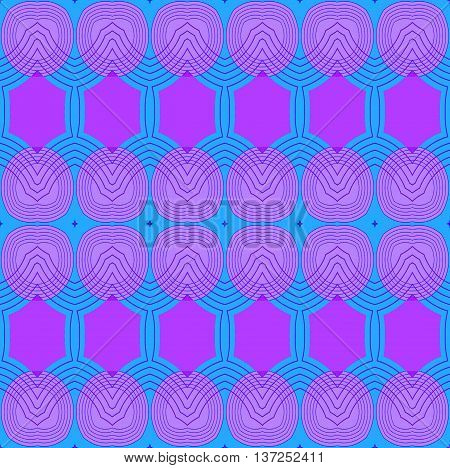 Abstract geometric seamless retro background. Seamless ellipses and hexagon pattern in violet shades and light blue with purple outlines.