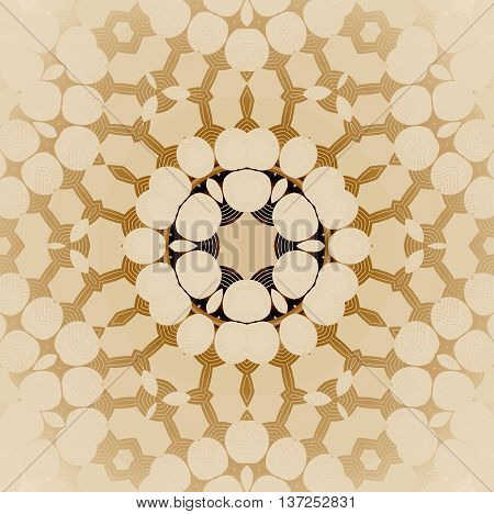 Abstract geometric seamless background. Delicate circle ornament in beige, ocher and dark brown shades, centered and blurred.