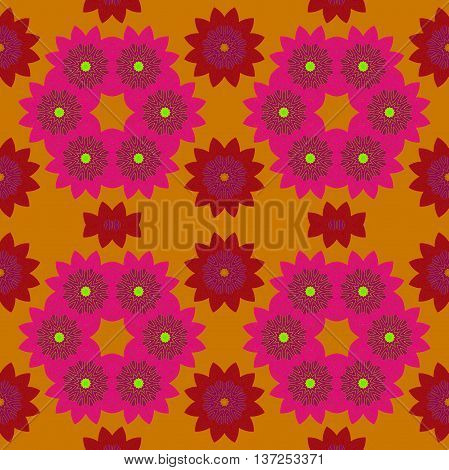 Abstract geometric seamless retro background. Regular floral pattern, violet and red blossoms with purple on orange.