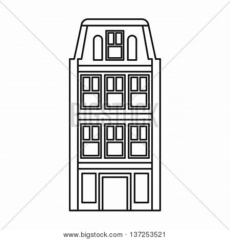 Dutch houses icon in outline style isolated vector illustration. Structure symbol