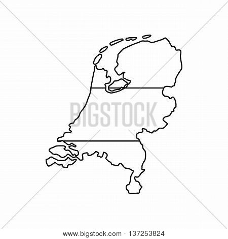 Holland map icon in outline style isolated vector illustration. State symbol