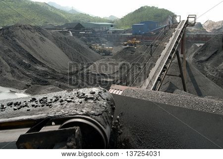 Quang Ninh, Vietnam, June 19, 2016 conveyers, coal mining, Mao Khe Coal Company, Quang Ninh province, Vietnam