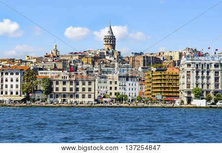 Istanbul Turkey - September 9 2012: Istanbul Sea of Marmara the Golden Horn Galata Tower and Cityscape.