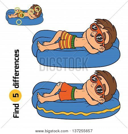 Find Differences. Little Boy On Lying Inflatable Mattress