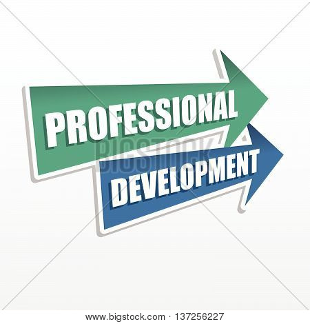 professional development - text in arrows, business career concept, flat design, vector