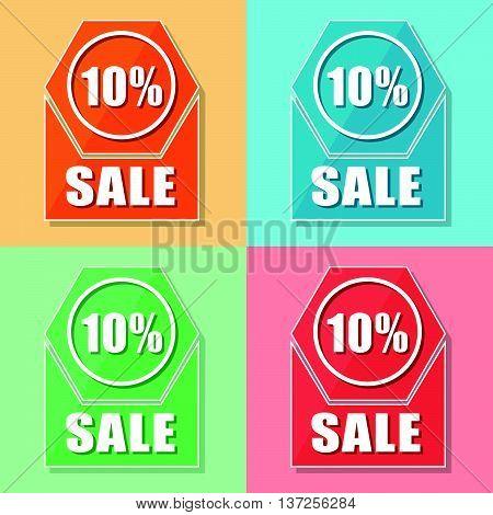 10 percentages sale, four colors web icons, flat design, business shopping concept, vector