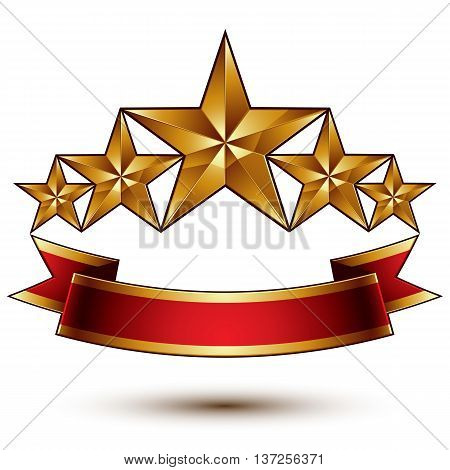 Royal golden symbolic five stylized glossy stars with red curvy ribbon best for use in web and graphic design luxury conceptual vector icon isolated on white background.