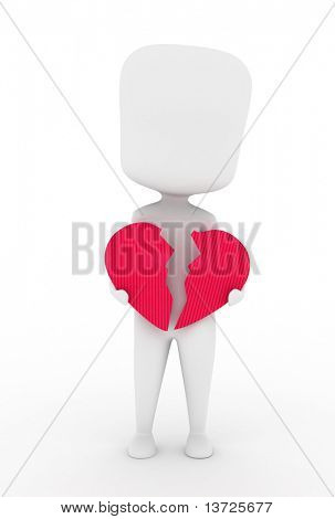 Illustration of a Man Holding a Broken Heart