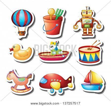 Sticker set of many toys illustration