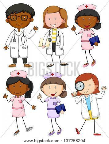 Set of doctors and nurses illustration