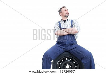 Handsome Mechanic Man Standing With Folded Arms