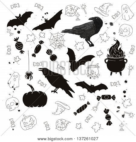 Set of icons for Halloween. Crows bat spider cauldron candy and other items. Vector illustration on white background. Elements for design.