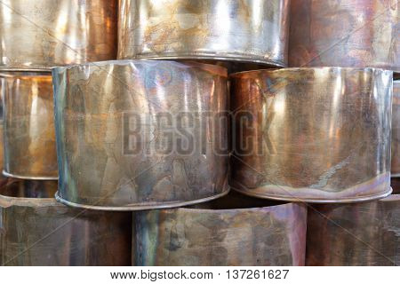 stacks of unfinished copper pots, Istanbul, Turkey