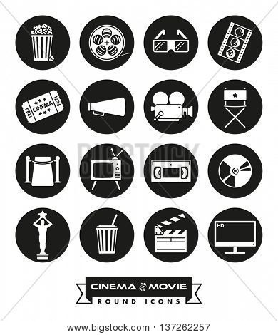 Cinema and movie related vector icons in circles. Collection of 16 round black symbols.