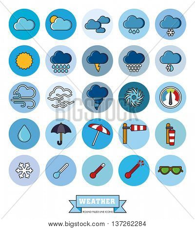 Weather and climate filled line vector icons in blue circles. Collection of 25 meteorology related symbols.