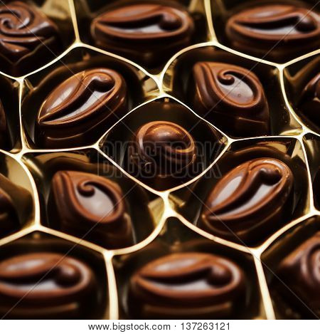 Delicious chocolate Box of candies. Dark Chocolate Candy. Praline sweets. Low key photo