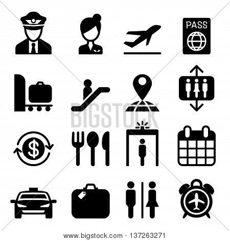 Airport icon set vector illustration graphic design