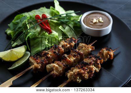 chicken satay popular asian dish, close view