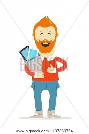 Smiling hipster with the bag vector illustration