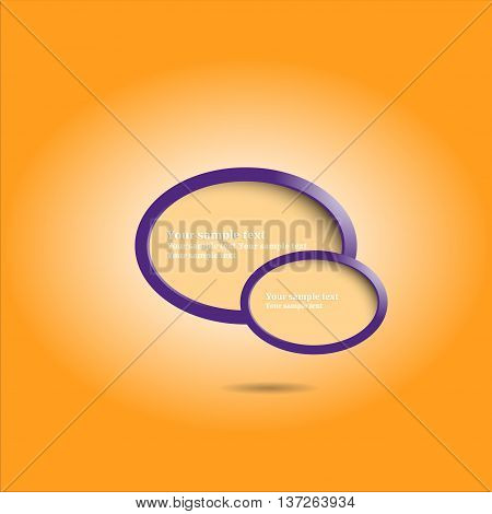 Violet ellipse design banners with orange background for presentation, vector illustration.