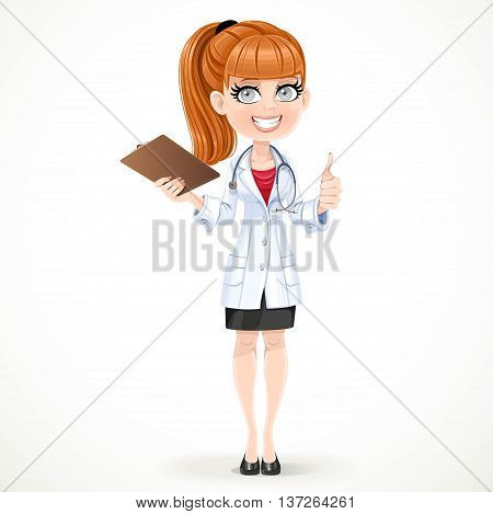 Beautiful Girl Doctor In A White Medical Coat Shows Gesture Thum