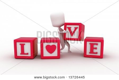 3D Illustration of a Man Arranging Pieces of Blocks to Form the Word Love