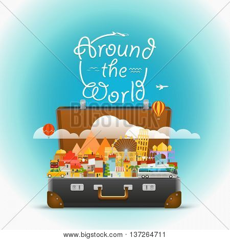 Dirrefent world famous sights. Vector travel illustration. Around the world concept