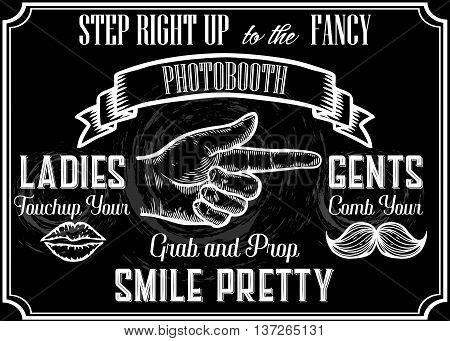 Photobooth Pointer Sign. Vector Photo Booth Props. Photo Automat Pointer. Photo Booth Sign With Engr