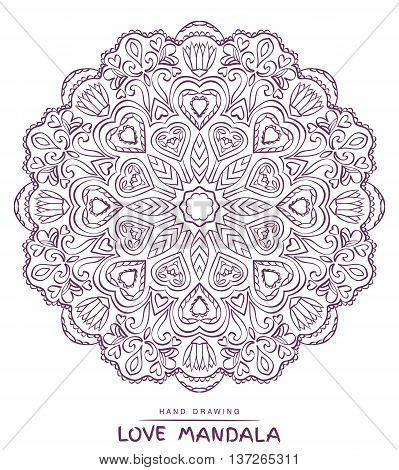 Vector mandala for coloring with valentines decorative elements. Patterned Design Element Coloring book.