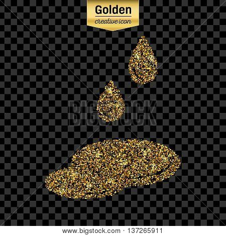 Gold glitter vector icon of puddle isolated on background. Art creative concept illustration for web, glow light confetti, bright sequins, sparkle tinsel, abstract bling, shimmer dust, foil.