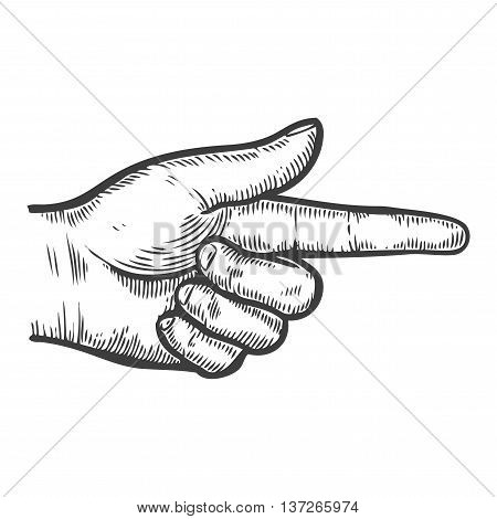 Hand Gesture. Pointing Right Finger. Retro Vintage Sketch Vector Illustration. Engraving Style. Blac