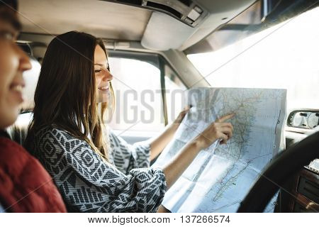 Camping Roadtrip Couple Direction Map Concept