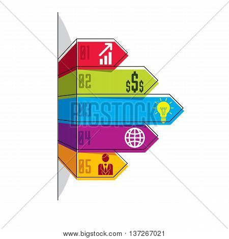 Infographics Element, Vector Layout Of Different Color Five Banners, Composition Of Five Ribbons Vis