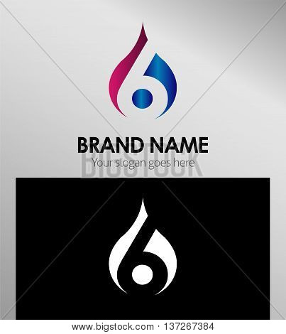 Number six 6 logo icon template design vector
