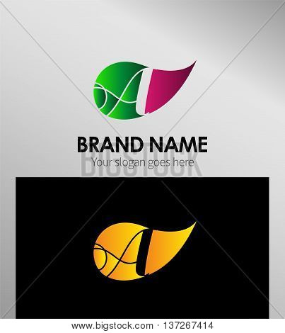 Leaf icon Logo Letter A template design vector