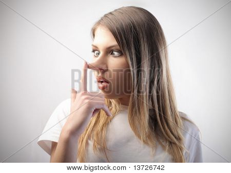Woman with long nose
