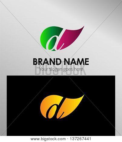 Leaf icon Logo Letter D template design vector