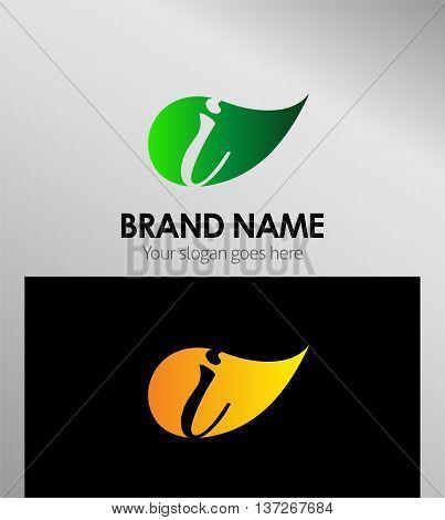 Leaf icon Logo Letter I Leaf icon Logo Letter I