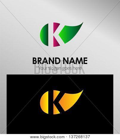 Leaf icon Logo Letter k template design vector