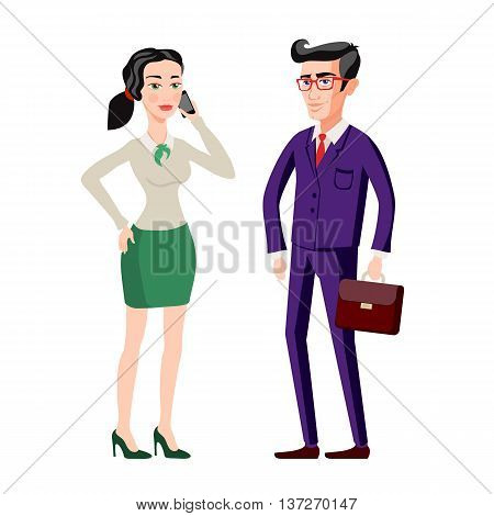 Business People, Man And Woman Consults Over Book. Vector Isolated Illustration. Shadow Silhouettes.
