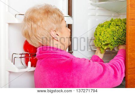 Senior woman taking a green lettuce from fridge