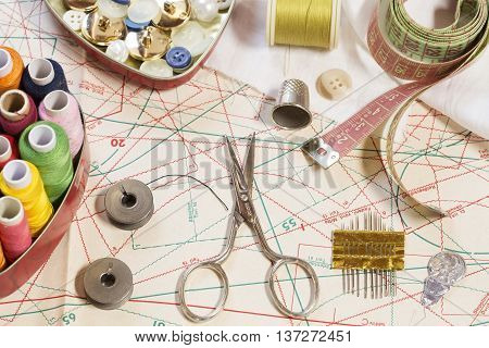 Various sewing items on a sewing pattern