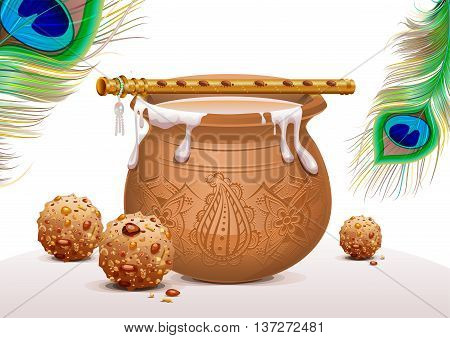 Holiday Symbols Krishna Janmashtami. Pot of yoghurt, peacock feather, flute and sweets. Vector illustration